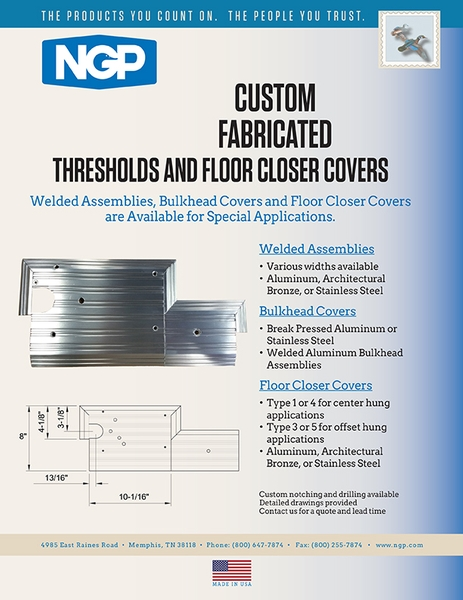 Custom Fabricated Thresholds and Floor Closer Covers