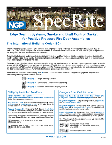 Edge Sealing Systems for Positive Pressure Fire Door Assemblies